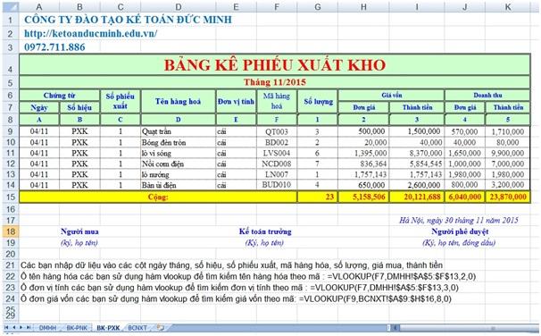 Cách lập báo cáo nhập xuất tồn trên excel - Kế toán Đức Minh.