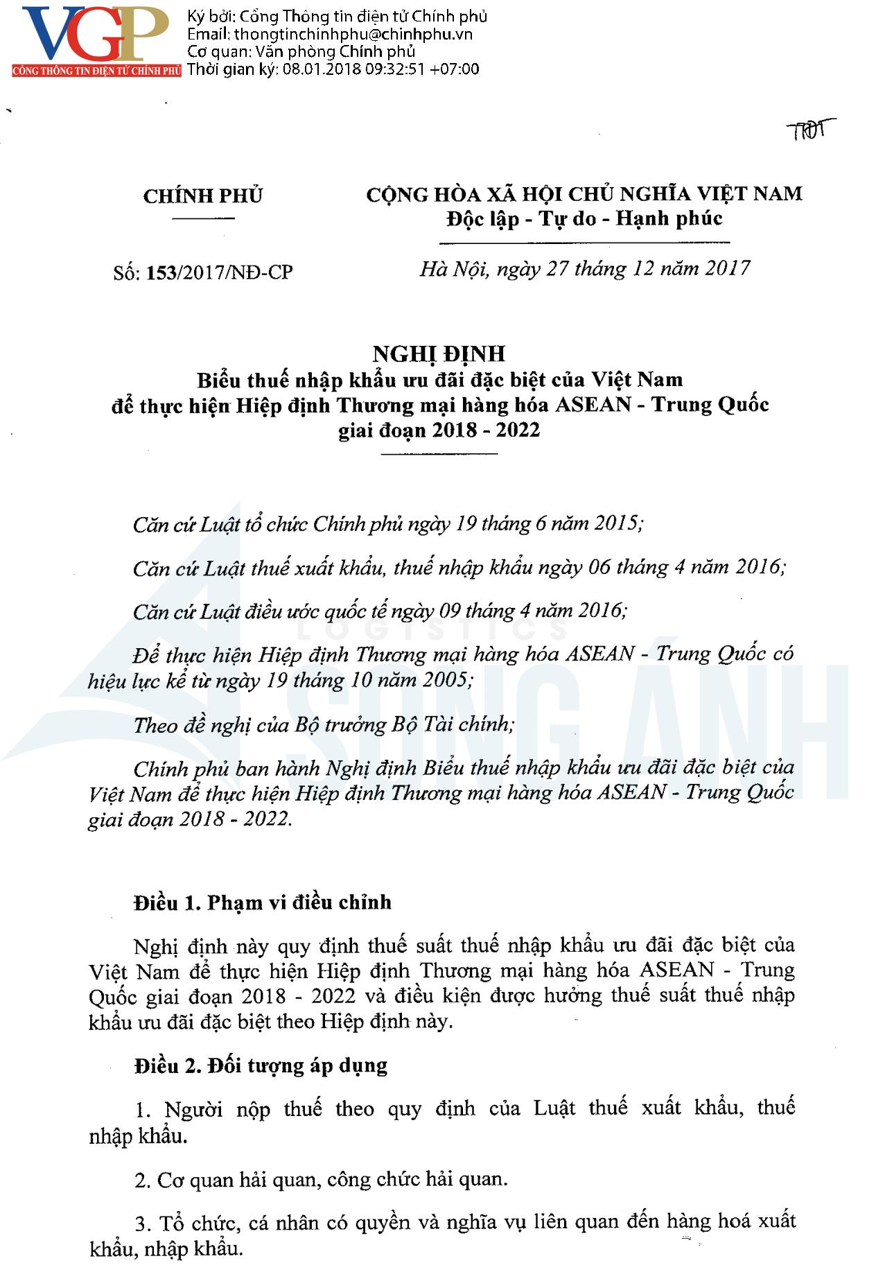 Thuế nhập khẩu ưu đãi ASEAN - Trung Quốc, CO Form E