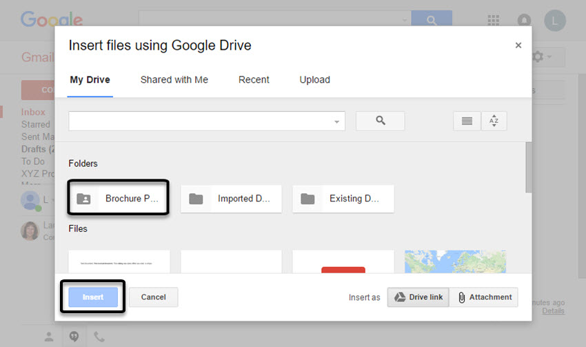 The Insert files using Google Drive box