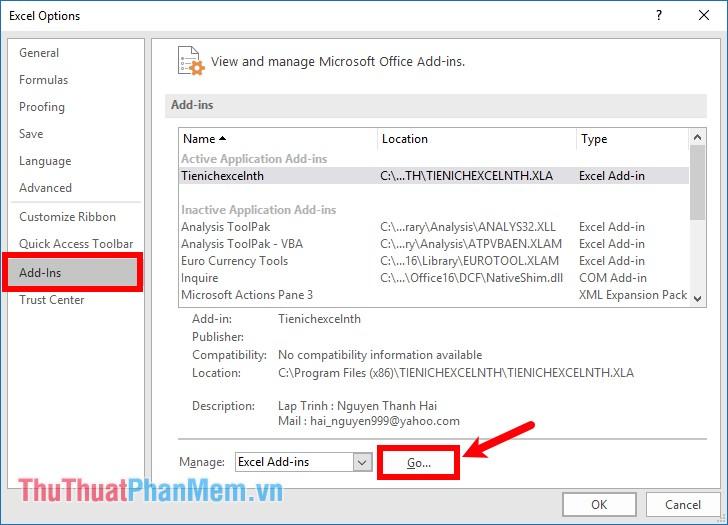 Chọn Add-Ins trong phần Manage - chọn Excel Add-Ins và chọn Go