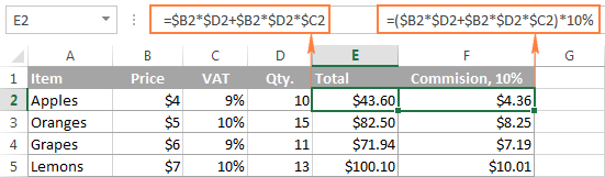 Complex Excel formulas with constants and mathematic operators