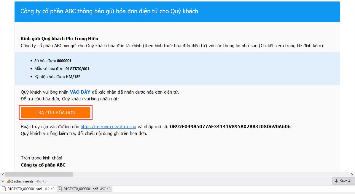 Tra cứu hóa đơn điện tử theo link tra cứu trên Email