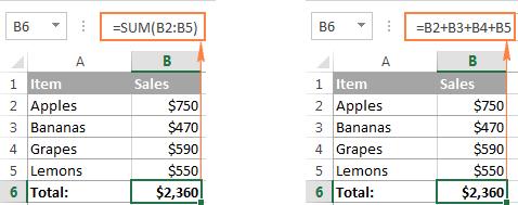 Microsoft Excel formulas