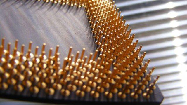 Vàng được mạ trên chân cắm của CPU