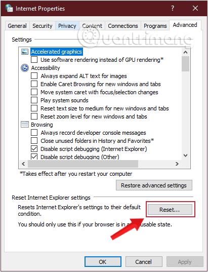 Click chọn vào nút Reset trong tab Advanced
