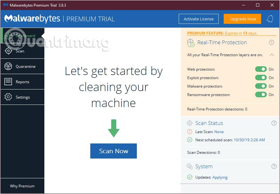 Chọn Scan Now để bắt đầu quá trình quét hệ thống