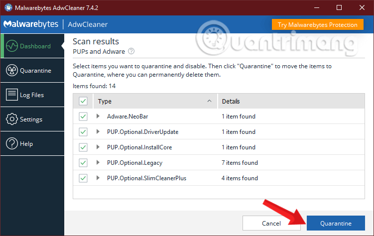 Chọn Quarantine để xóa bỏ phần mềm độc hại