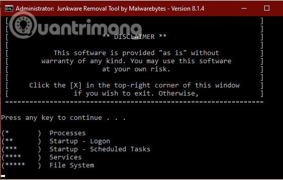 Chờ Junkware Removal Tool quét và dọn sạch hệ thống